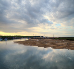 Reflected sky over Wells, vertorama (Rich2012) Tags: uk sunset england sky clouds harbour britain north norfolk wells dri hdr merge wellsnextthesea vertorama