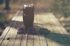 Morning gear (Amir Hamdi) Tags: wood morning coffee field sunglasses forest canon bench lens photography rebel 50mm design spring woods phone designer connecticut amir shallow 18 depth fifty nifty iphone hamdi 550d grpahic t2i knockaround