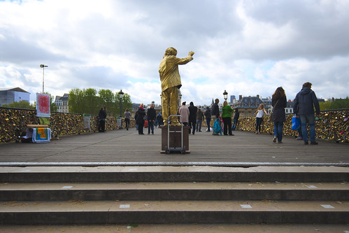 Human Statue on Pont des Arts
