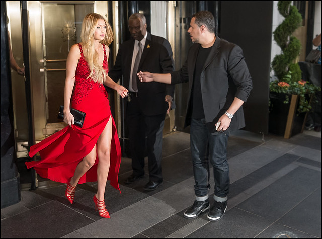 red slit dress