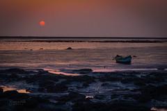 Summer Sunset - Bhuigaon Beach 2 (Gladson777) Tags: sunset sea summer india motion blur beach beautiful boat rocks long exposure sony smooth calm filter nd waters p maharashtra thane mumbai jpeg cokin vasai gnd bhuigaon rangaon hx100v