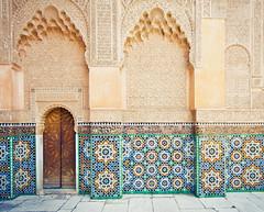 Entry Level Geometry (GaryTumilty) Tags: africa door wood flowers blue school green students yellow wall university pattern market geometry arches study tiles learning marrakech souk marrakesh médersabenyoussef