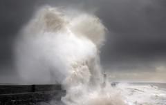 Collapsing Wave (wentloog) Tags: uk light sea cloud lighthouse seascape storm wales canon giant eos harbor surf flood harbour britain tide cymru cardiff wave spray seawall caerdydd 5d tidal porthcawl mkiii bristolchannel wentloog stevegarrington porthcawllighthouse