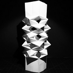 Transformable structure 1 raised (mike.tanis) Tags: art architecture design origami engineering structure kirigami paperfolding papercraft transformable paperengineering origamidesign origamiengineering hyperqbert michaeltanis transformablestructure kirigamiengineering