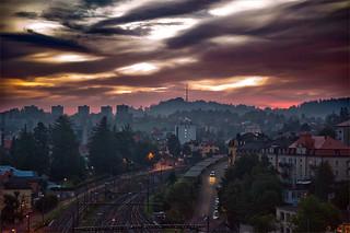 Aube citadine à La Chaux-de-Fonds. Swiss urban sunrise on La Chaux-de-Fonds. No. 4045.