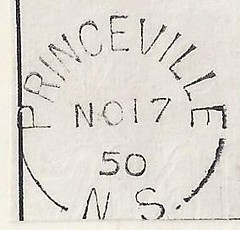 Nova Scotia / Cape Breton Postal History - 17 November 1950 - PRINCEVILLE (Inverness County), N.S. (Split Ring / Broken Circle Postmark) on Piece (Baseball Autographs Football Coins) Tags: capebreton postmaster postoffice novascotia postalhistory ns county splitring brokencircle splitcircle postmark cancel cancellation marking son mail letter stamp canada princeville invernesscounty