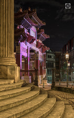 A frame full of Eastern, promise. (alun.disley@ntlworld.com) Tags: liverpool chinatown chinesearch city night longexposure structure architecture steps theblacke streetscene urbanscene merseyside england uk panorama stars sky weather pillar art ornatestreetlights