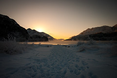 Loch Shiel (dougiebeck) Tags: sunset glenfinnan lochshiel lochaber winter highlands scotland snow footprints december loch hills mountains glow gloaming
