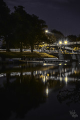 one day (apocalypsedreamz) Tags: worcester river severn bridge canal home boat night lights
