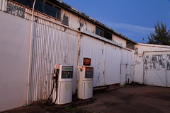 A Pair of White Pumps (Darren Schiller) Tags: wellington abandoned closed corrugatediron derelict disused decaying deserted decay dusk evening fuel bowser petrol garage service pump diesel shed rural rustic rusty smalltown