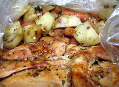 Oven BBQ Chicken Dinner. (dccradio) Tags: lumberton nc northcarolina robesoncounty food eat meal supper dinner potatoes chicken ovenbbq ovenbarbecue ovenbarbque meat veggies vegetables cookingbag baked