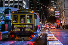 car 51 at terminus (pbo31) Tags: sanfrancisco california night december 2016 dark fall boury pbo31 city nikon d810 color financialdistrict cbd californiastreet cablecar infinity traffic roadway terminus 51 lightstream motion depthoffield