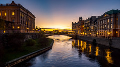 Stockholm (Jens Haggren) Tags: sunset city sky water bridge buildings colour reflections stockholm