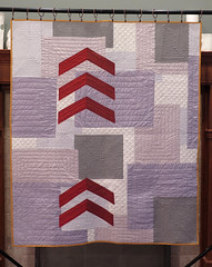 Finding Depth (Quiltachusetts - Heather Black) Tags: mmdern contemporary quilt grey gray neutral rust red chevron layer yellow raw edge aplique applique