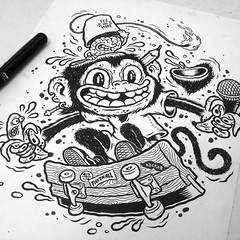 Filler DIY Drawing (Michael Hacker Illustration) Tags: filler diy skateboard skate squeegeeboard squeegee fez monkey illustration art artwork character characterdesign brain gehirn bananas fillerdiy milano ape affe ink inks inkdrawing tusche tuschezeichnung pentel pentelbrush brushpen michaelhacker michaelhackerillustration cartoon
