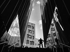 no way out (Dan-Schneider) Tags: streetphotography street schwarzweiss silhouette blackandwhite bw human olympus omdem10 mft monochrome mirror reflection urban