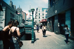 Canal Street Station (Jim Davies) Tags: photography analogue film veebotique 35mm vivitar ultrawideandslim uws plastic toycamera kodak ektachrome 160t 160asa slidefilm crossprocessed xpro e6 c41 expired hardexpired newyorkcity nyc newyork bigapple downtown canalstreet lafayettestreet