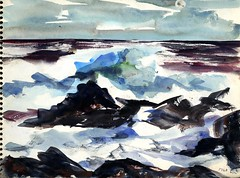 The Sea (Cambridge Room at the Cambridge Public Library) Tags: watercolor watercolorspaintings arnolddorothy dorothyarnold cambridgemass cambridge cambridgemassachusetts artistjournals