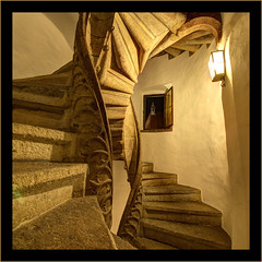 Doppelwendeltreppe, Graz,  nr1 (tonyguest) Tags: graz gothic spiral staircase double doppelwendeltreppe stairway window stone medieval sculpture tonyguest stockholm sweden sverige austria architecture architectural interior monochrome steps guest tony