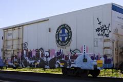 GESO (Electric Funeral) Tags: railroad art digital train canon graffiti midwest nebraska paint railway iowa railcar traincar omaha graff aerosol freight bnsf reefer freighttrain geso councilbluffs ibd benched benching xti freighttraingraffiti