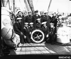 Chilean naval crew on the deck of GENERAL BAQUEDANO, July 1931
