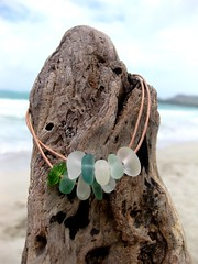 IMG_7572 (LindseysBeachGlass) Tags: blue sea white green beach glass colors leather silver hawaii wire aqua handmade teal jewelry clear bracelet hawaiian earrings seaglass rarecolor olibe