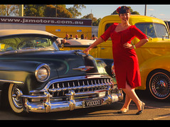 Miss Ruby Rabbit & VOOODO (54 Ford Customline) Tags: cars chevrolet model chevy rockabilly rocknroll pinup hdr hotrods customs psychobilly cs6 kustomkulture 1953chevroletbelair vooodo ferntreegullyhotel kustomkulturemeltdown rubyrabbt