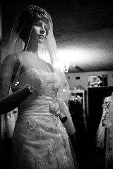 Grounds for Divorce (TW Collins) Tags: mannequin window monochrome bride creepy americana delaware dummy smalltown windowdressing weddinggown handless millsboro