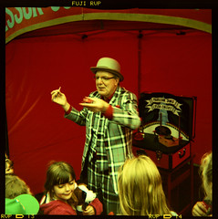 Professor Jon's Flea Circus (pho-Tony) Tags: street vanessa color colour 120 6x6 film square xpro jon university fuji cross fairground circus crossprocess sheffield archive shift marshall plastic entertainment velvia national roll professor flea process funfair e6 glitch sideshow reflector 620 rvp rollfilm iso50 586 kodakbrowniestarmatic toulmin jonmarshall fujirvp brownieflash20 6cmx6cm kodakbrownieflash20 multicamsource professorjonsfleacircus rvp586