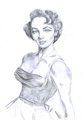 Elizabeth (Katya_Bariudin) Tags: old art pencil sketch elizabeth retro actor