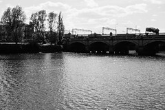 DSCF1052.jpg (JacksterD) Tags: bridge blackandwhite riverclyde clyde railway trainline glasgowbridge