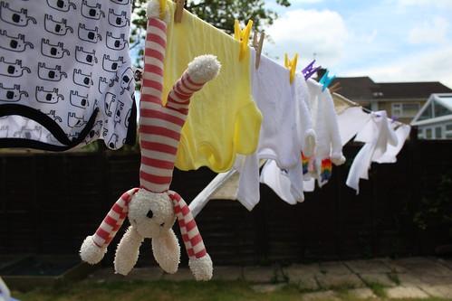 stripes bunny laundry washing wash washed washday toy washingline drying dry line clothes baby babyclothes romper babygro babygrow vest cardigan white yellow garden adventuresofstripes