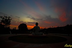 Buddha !!! (Rambonp love's all t) Tags: blue trees sunset red wallpaper sky sun india silhouette clouds canon evening twilight paradise sundown buddhist buddhism chandigarh dimness incredibleindia silencezone gautambuddha sukhnalakechandigarh canoneos1000d canonedge
