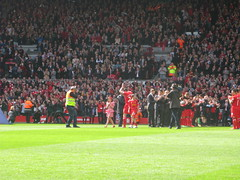 Carragher salutes the fans during his guard of honour before the match (kersalflats) Tags: club liverpool football jamie stadium reds mighty qpr anfield lfc carragher