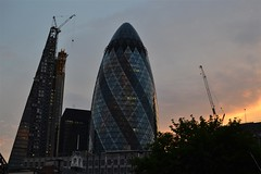2013-06-17: End Of Working Day (168/365) (psyxjaw) Tags: sunset red sky building london skyscrapers towers gherkin aldgate leadenhall cheesegrater londonist