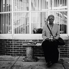 The Benchwarmer (Joel Levin Photography) Tags: street portrait urban blackandwhite bw usa philadelphia square eyecontact pretty grandmother candid streetphotography photojournalism squareformat philly granny allrightsreserved iphone photojournalistic mobilephotography flickraward iphone5 bwartaward thedefiningtouch iphoneography deftouch editedanduploadedoniphone ©joellevin definingtouchgroup uploaded:by=flickrmobile flickriosapp:filter=nofilter