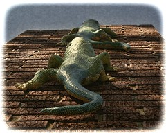 LOVERS LOOKING FOR A WARM AND COZY CHIMNEY (NC Cigany) Tags: chimney green art funny bricks humor statues romance lizards