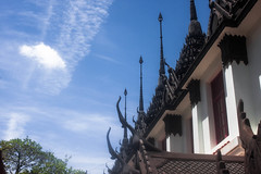 Leading (Gregory Desimone) Tags: roof sky detail architecture clouds 35mm canon thailand temple rebel spires bangkok intricate t1i