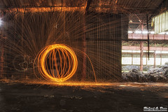 Steel / wire wool fun at Gary's abandoned Screw and Bolt factory (Rick Drew - 19 million views!) Tags: windows hot building abandoned wool circle spiral photography wire model factory bright decay steel spin orb indiana warehouse sphere spinning rod gary sparks sparky urbex screwandbolt