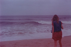 In between (Kelly Marciano) Tags: ocean film beach analog 35mm xpro crossprocessed capecod horizon grain lofi wave dreamy canonftb summerevenings tungsten64 backportrait