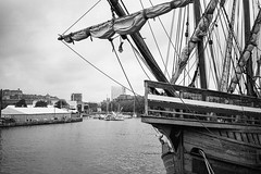 The prow of the Matthew (Claire Young) Tags: blackandwhite film docks bristol ship matthew yashicat5 bristoldocks xp2super400