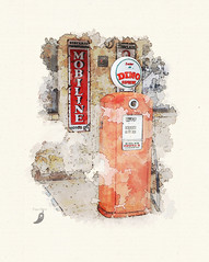 Dino Supreme (peppermcc) Tags: watercolor dino tx nostalgia gaspump lewisville sinclair oldtime daysgoneby mobiline