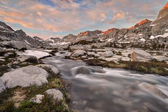 Big Arroyo Creek and the Kaweahs at Sunset (Sierralara) Tags: sierralara sierra sierras nevada range light california nikon photography hiking outdoors backpacking camping nine lake basin water cascade mountain mountains sequoia national park outside sunrise sunset sun nature environment waterfall falls fall usa united states america landscape open space opens spaces wild