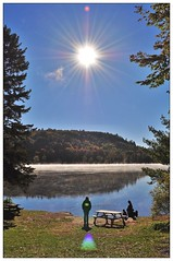 Morning on the Gatineau River (Cominupshort) Tags: river quebec gatineau wakefield sun trees nature park mist foliage outdoor serene sky nikon d5000