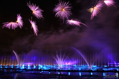 Flower Fireworks over Light Installations on the Water of Grebnoy Kanal (Guide, driver and photographer in Moscow, Russia) Tags: russia moscow circleoflight lightshow fireworks krylatskoye grebnoykanal rowingcanal fountains flowerfountains