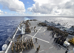 161020-N-LR795-005 (SurfaceWarriors) Tags: usnavy usssomerset 11thmeu marines sailors deployment drill muster flightdeck amphibioustransportdockship pacificocean california unitedstates