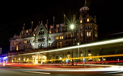 Light trails at the Duke of Cornwall Hotel (Rich Walker75) Tags: architecture england uk britainsoceancity 1585mmisusm eos canon longexposurephotography longexposure nighttimephotography nightshot night road urban street hotel devon plymouth bus lightstream traffictrails lighttrails