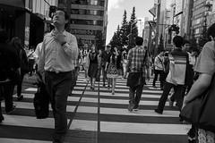intersecting (edwardpalmquist) Tags: akihabara tokyo japan blackandwhite monochrome crosswalk city street urban travel people crowd man woman boy girl outdoors road