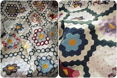 My lovely quilt (Patchwork Daily Desire) Tags: patchworkdailydesire englishpaperpiecing quilt gfg grandmotherflowergarden grandmotherflowersgardenquilt crafts cozy vintagequilt antiquequilts
