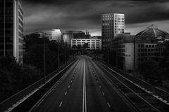 Motorslug (blondmao) Tags: bridge bnw switzerland city viaduct dome clouds longexposure heuwaageviaduct road flyover markthalletower dark heuwaage architecture bw sky blackandwhite 13stopper basel